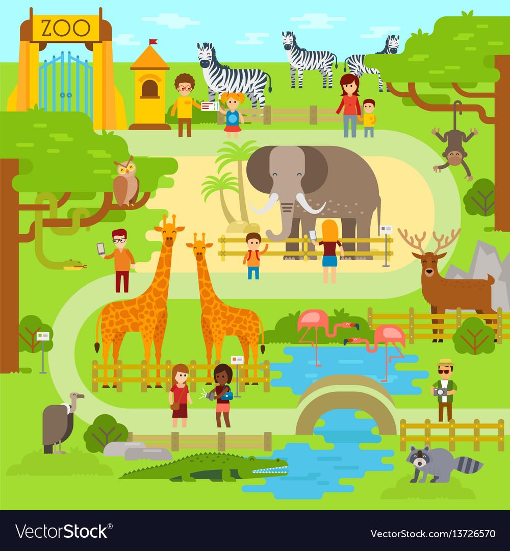 Zoo flat animals flat