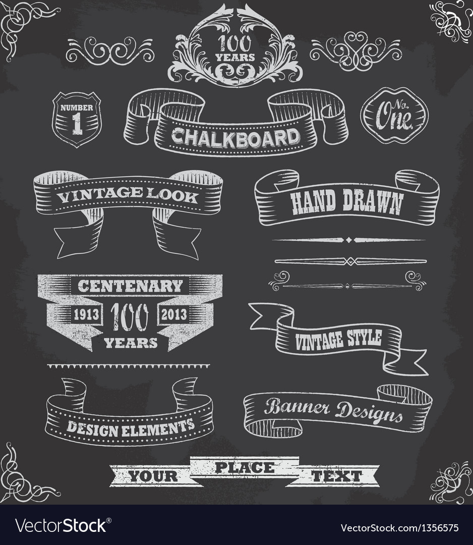 chalkboard calligraphy banners royalty free vector image