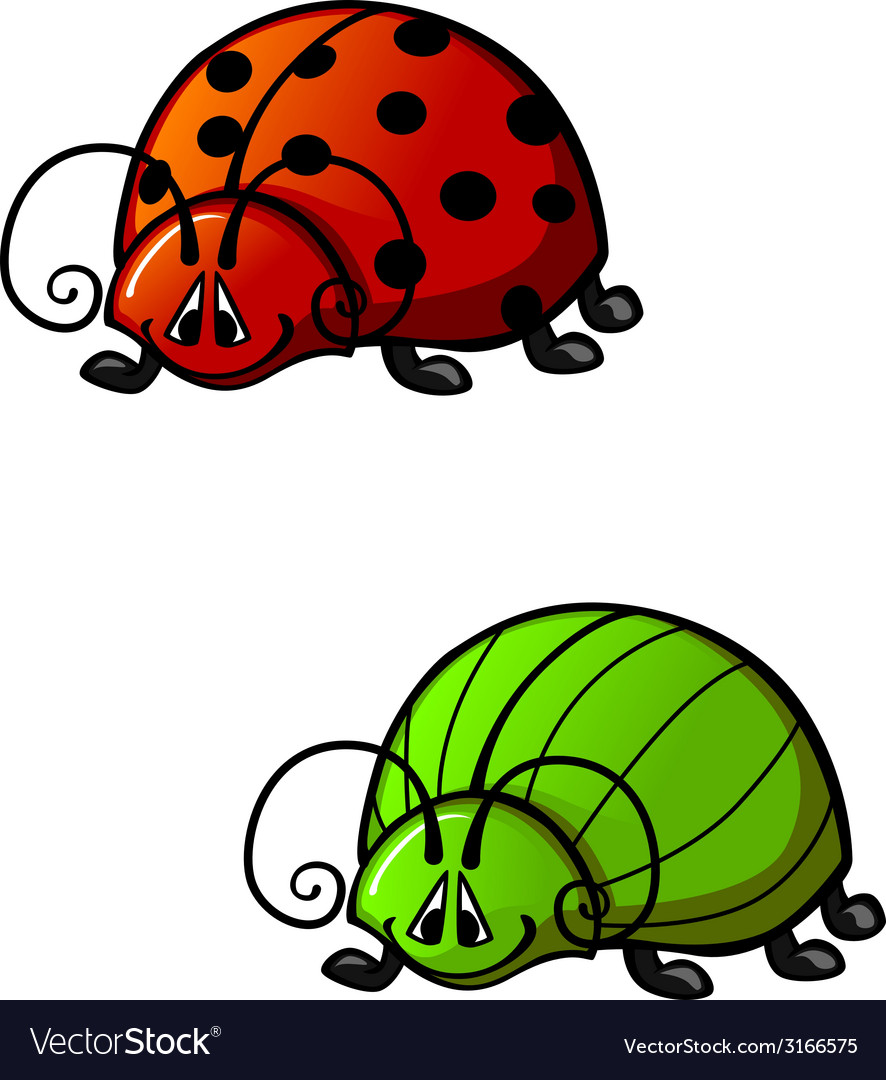 Funny beetles vector