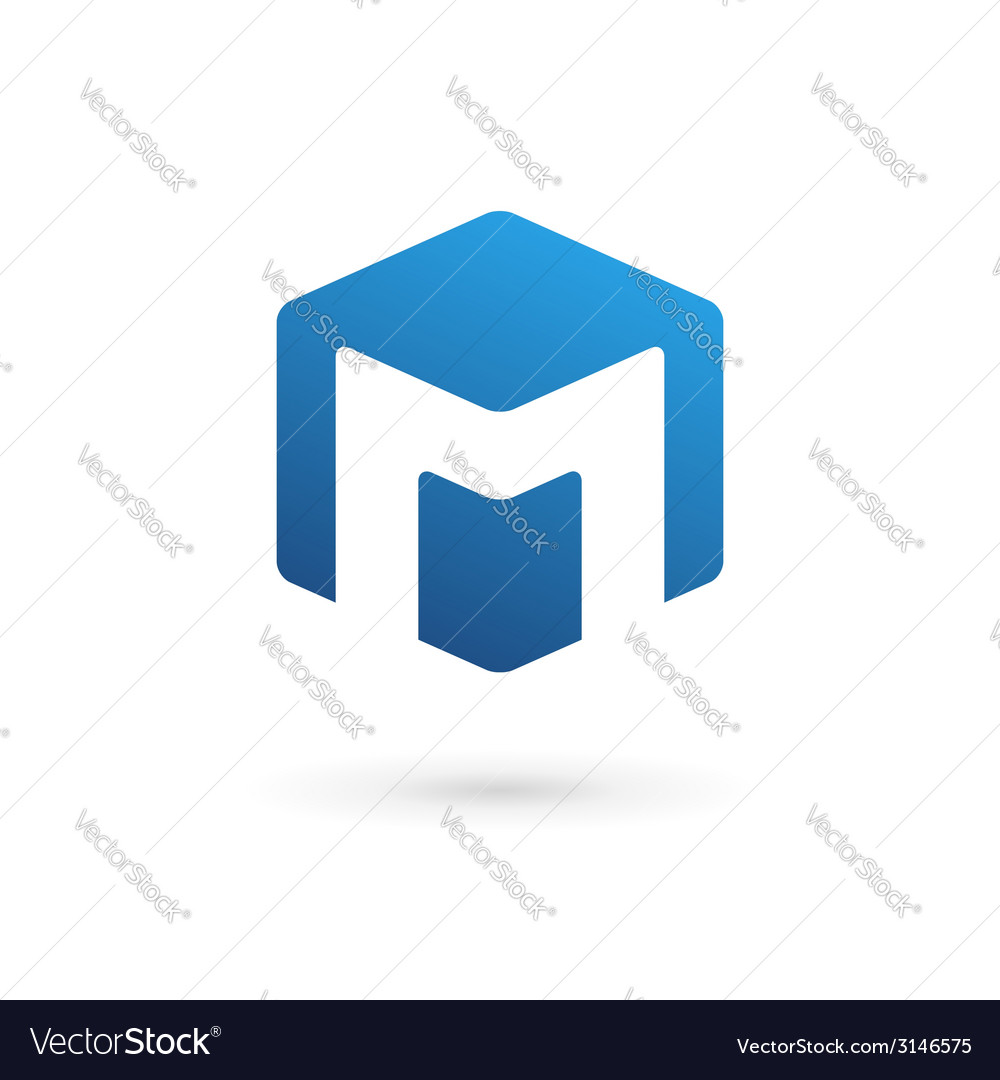 Letter M cube logo icon design template elements Vector Image