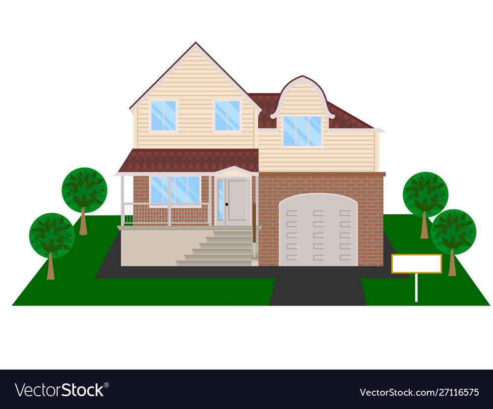 Modern house with attic and garage clipart
