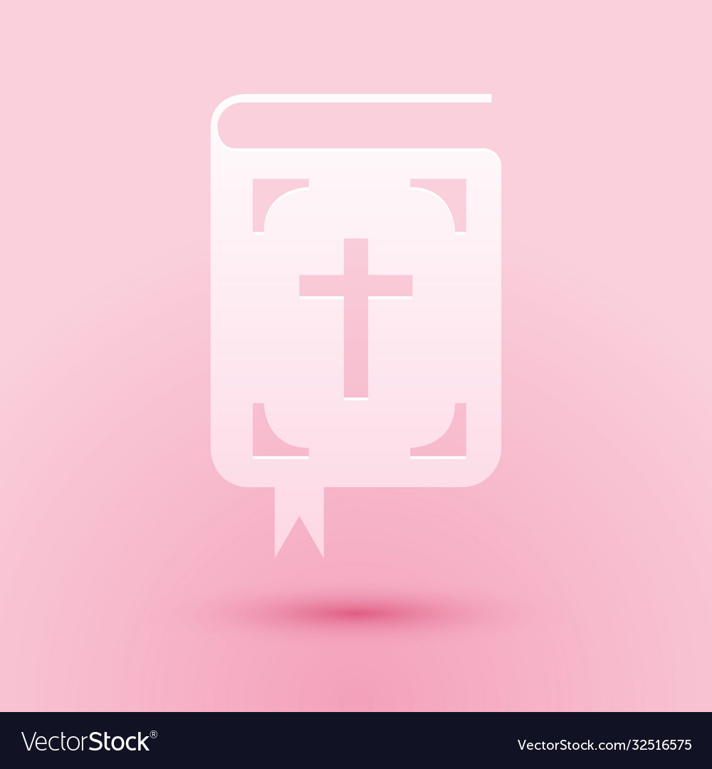 Paper cut bible book icon isolated on pink