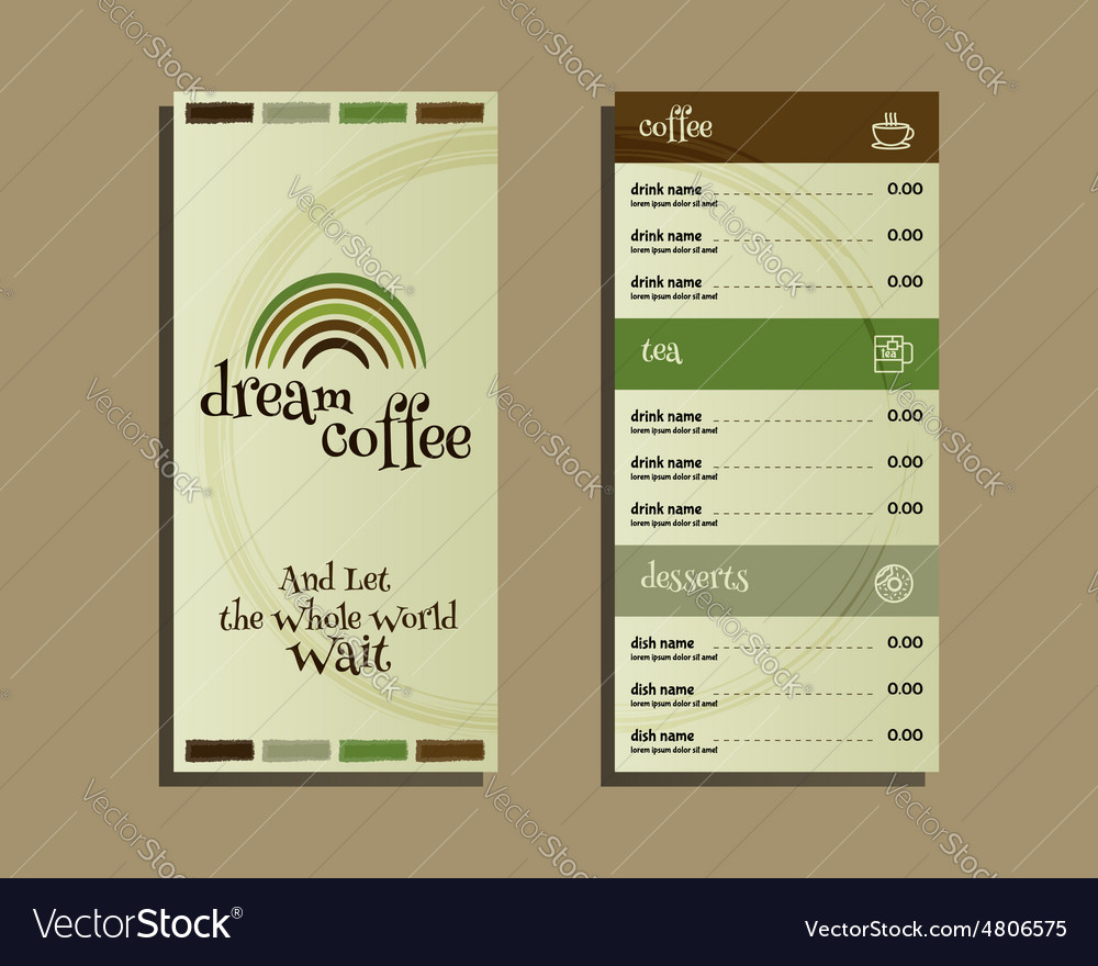 Restaurant and cafe menu Flat design With dream