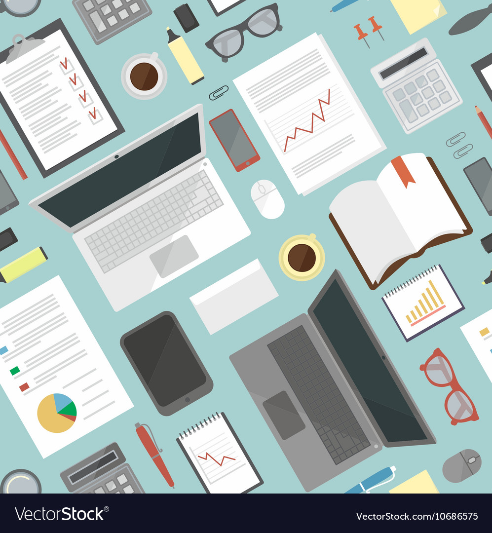 Seamless flat background Business desk