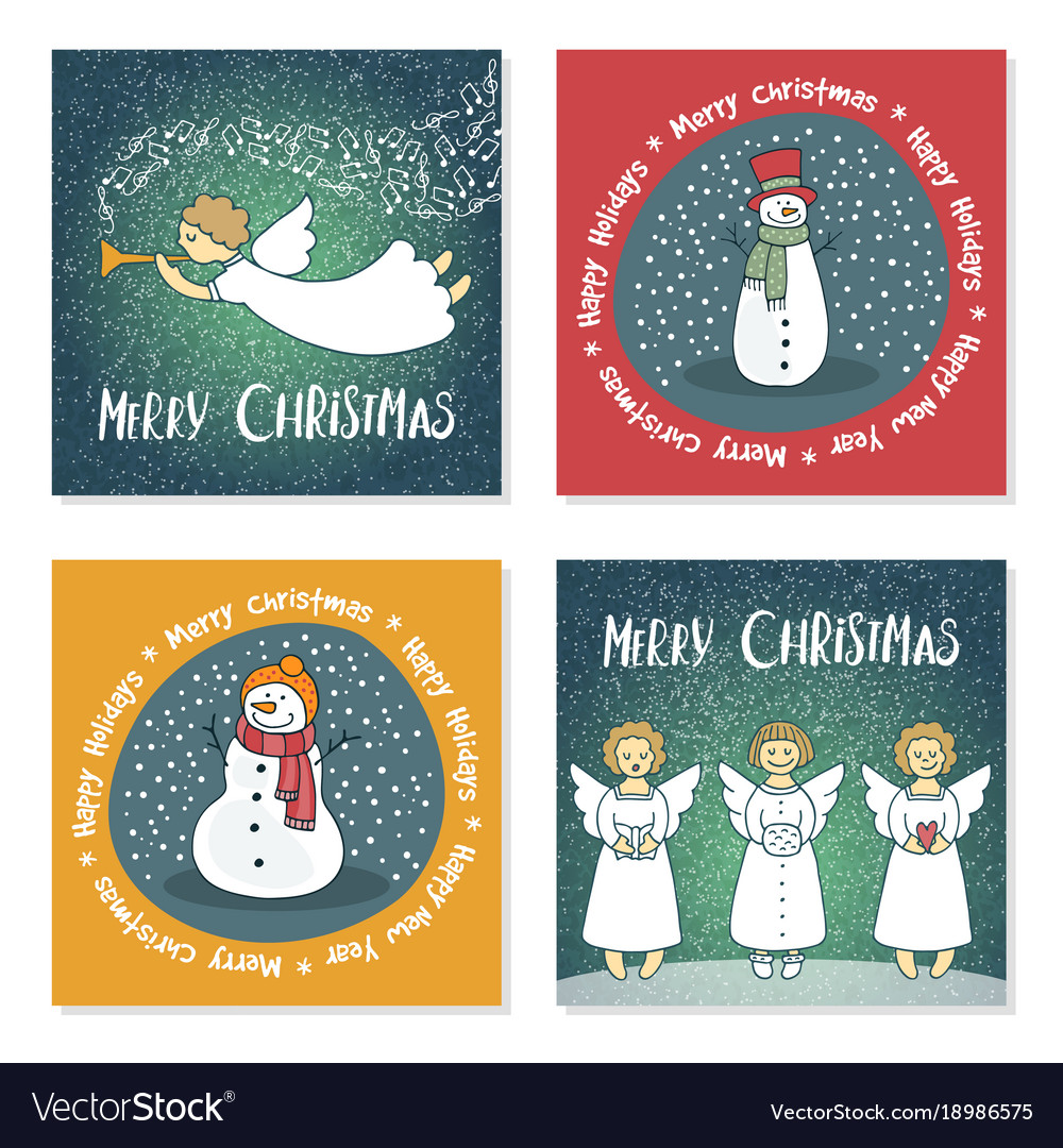 Angels Christmas Cards.Set Of Christmas Cards With Angels And Snowmen