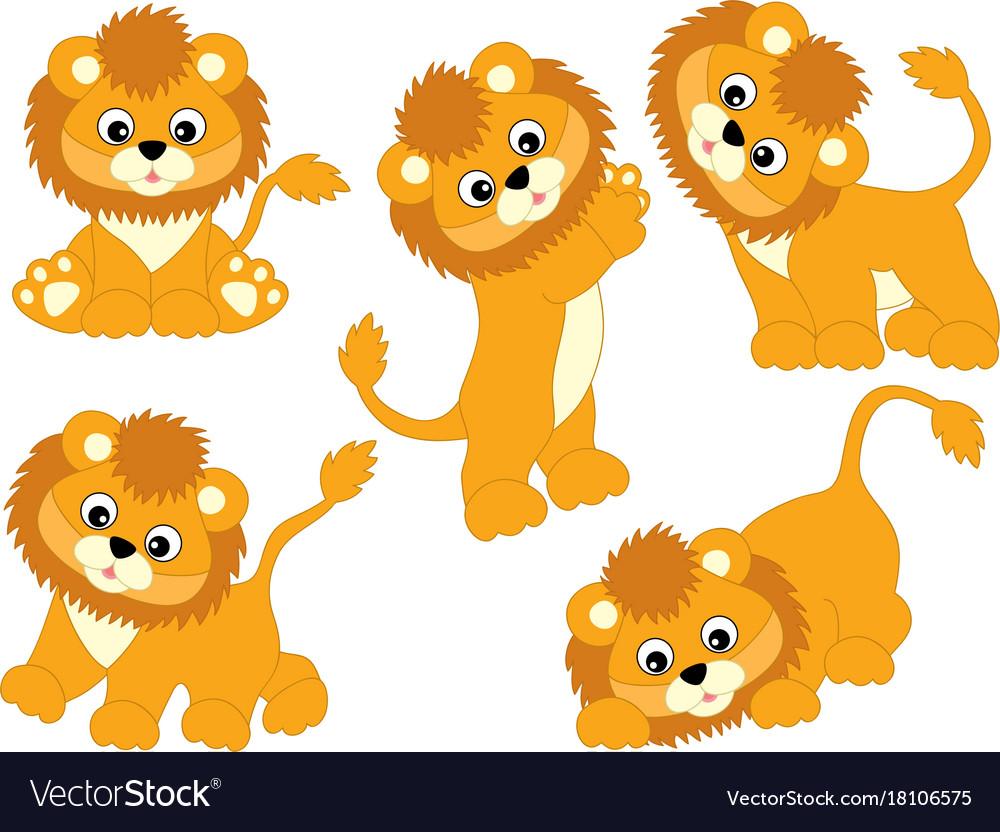 Set of cute cartoon lions