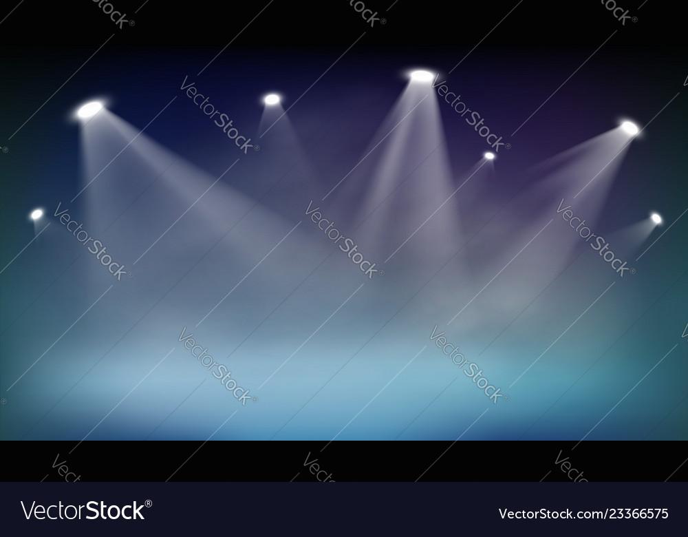 Spotlights illuminates dark background