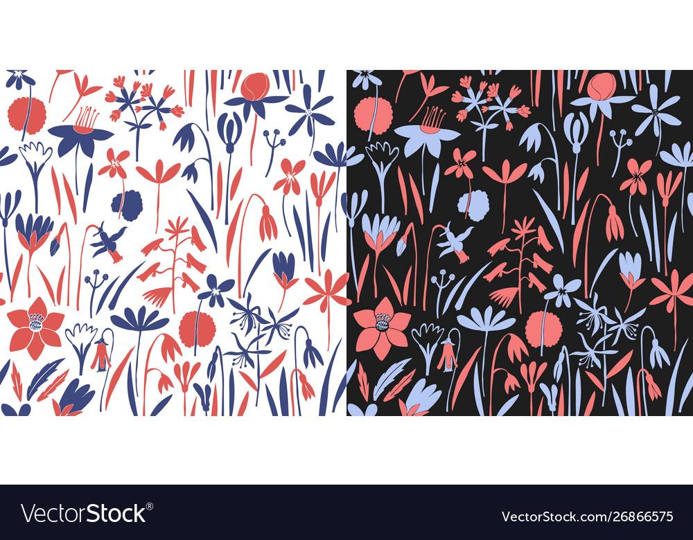 Spring flowers seamless pattern scandinavian