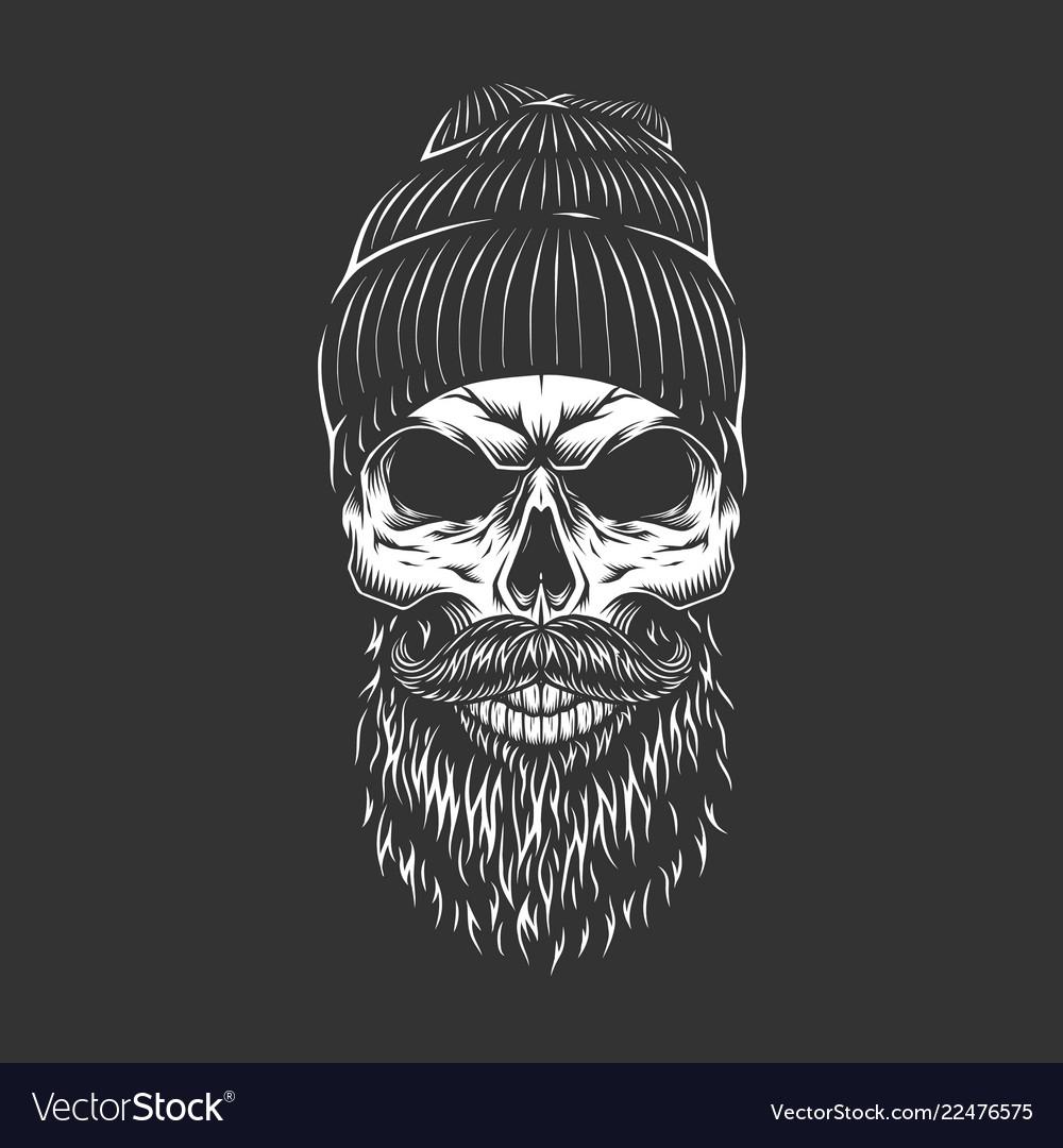 Vintage monochrome lumberjack skull