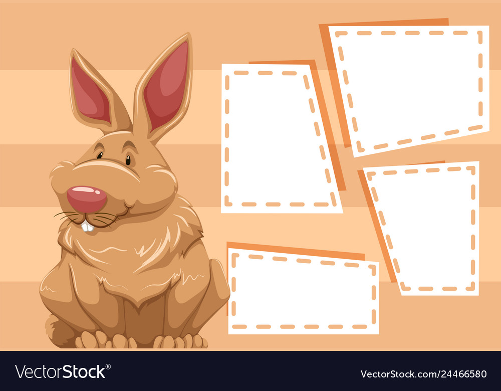 A rabbit on blank note
