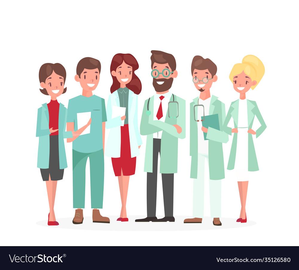 Cartoon woman man medical characters profile