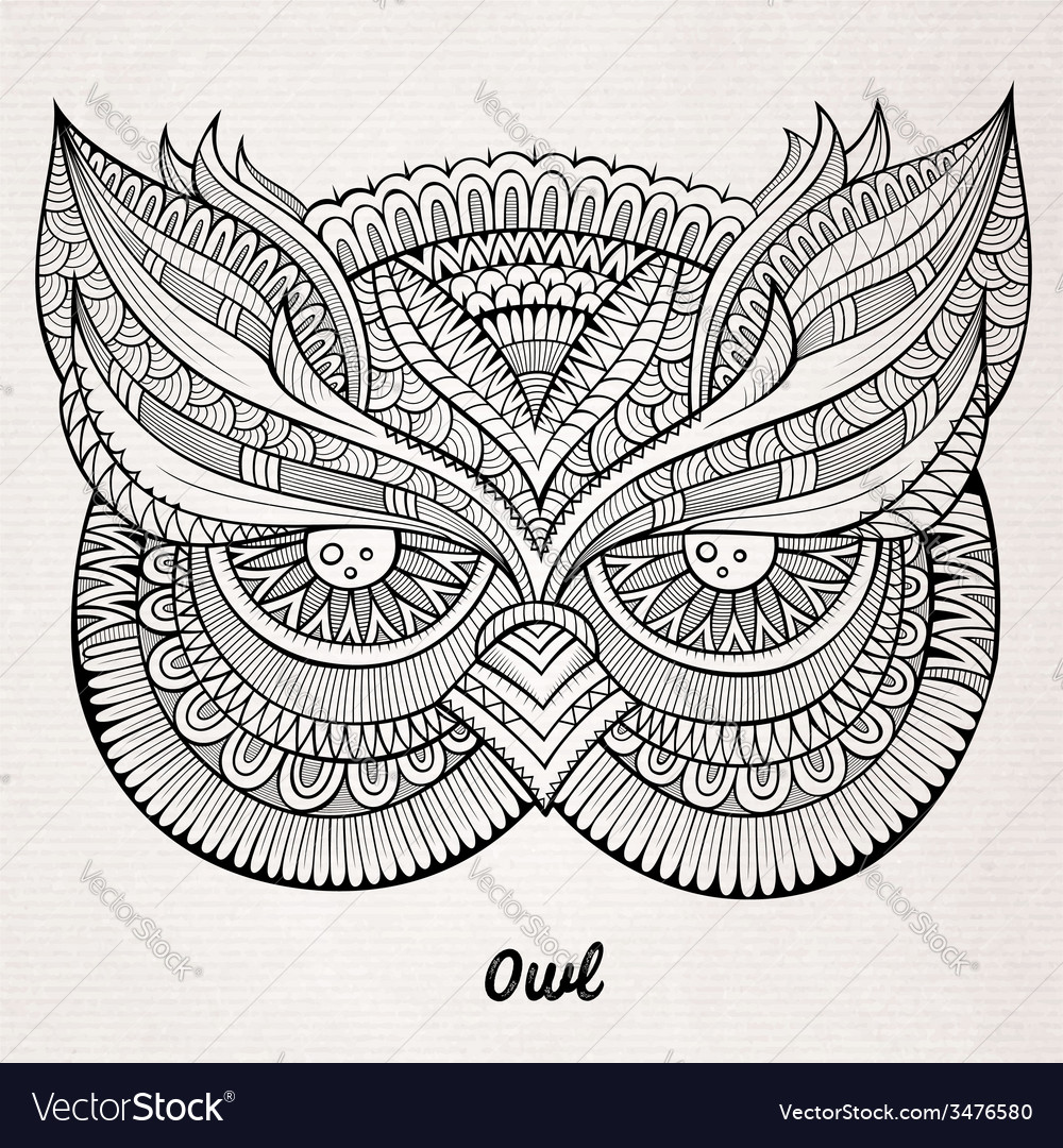 Decorative ornamental Owl head vector image