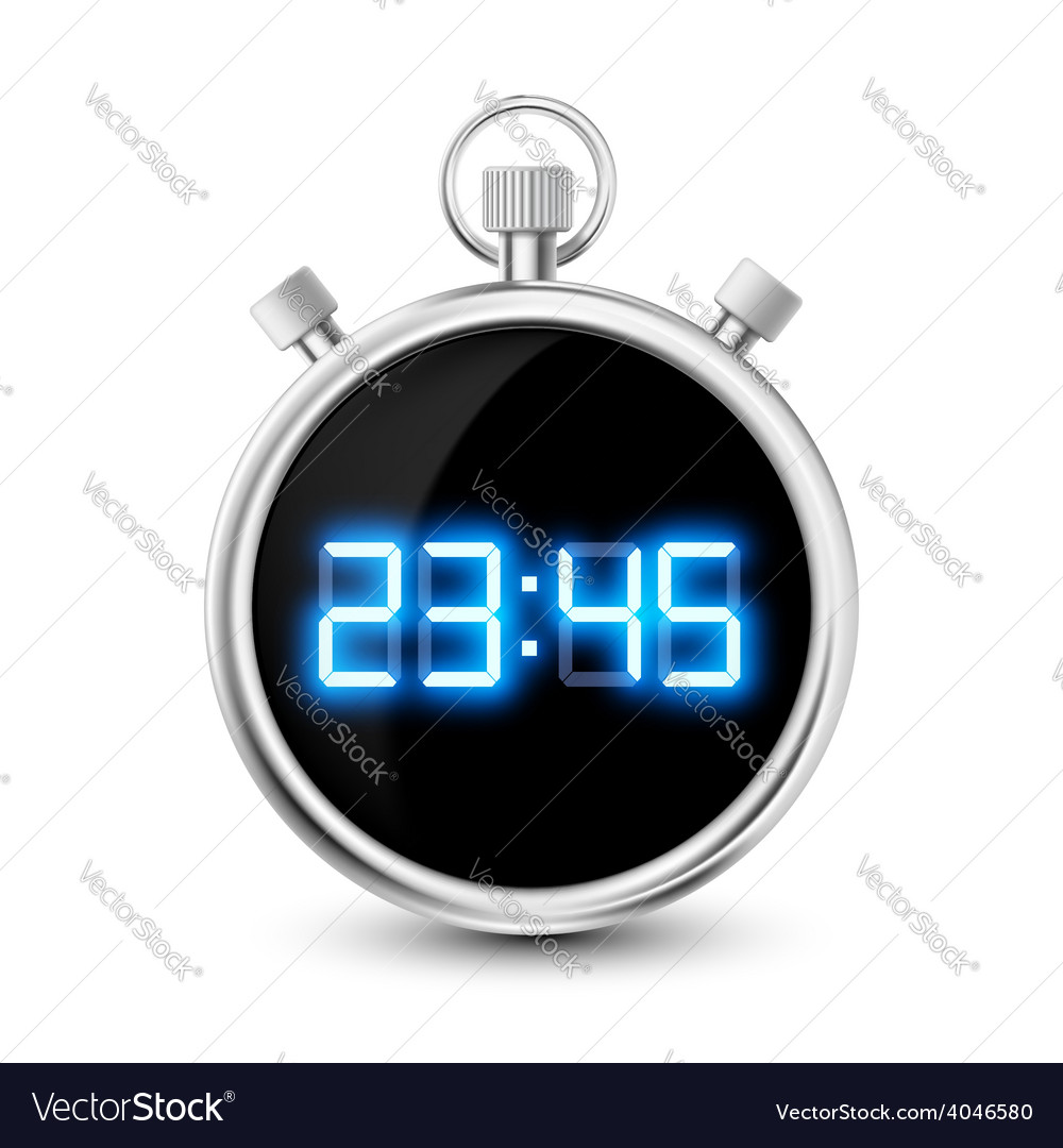 Digital stopwatch with blue numerals isolated on