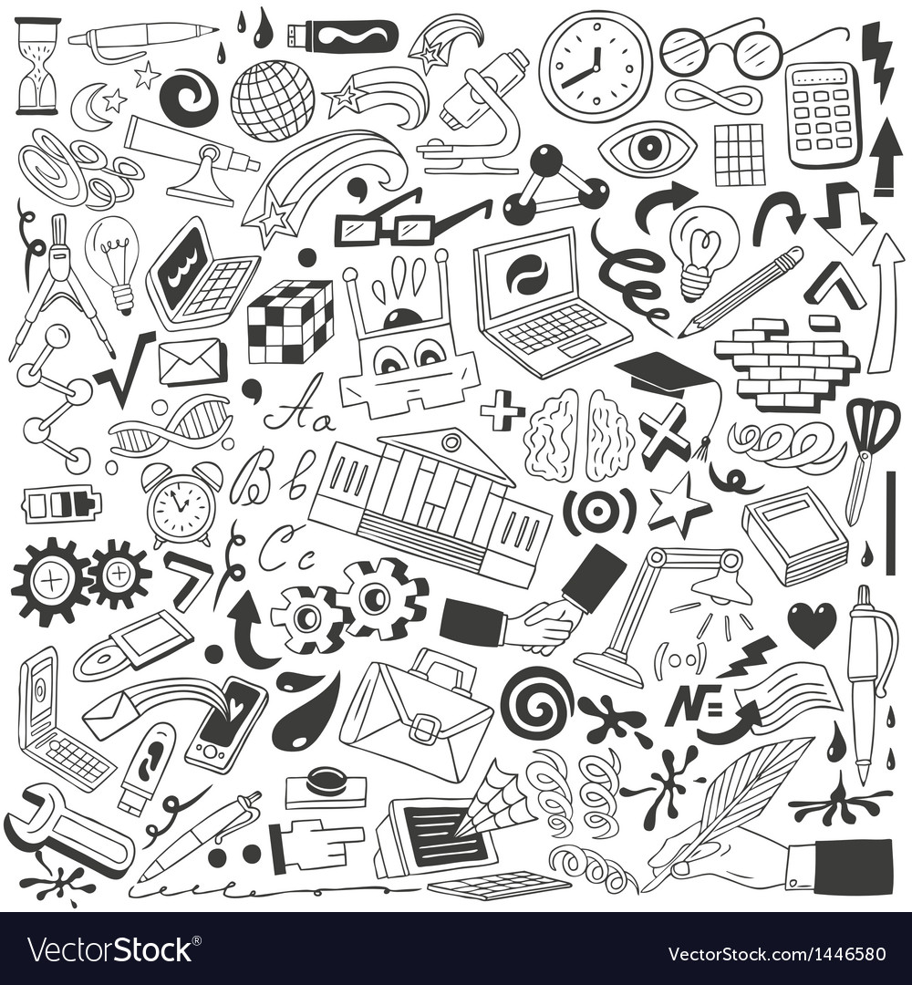 Education doodles vector image