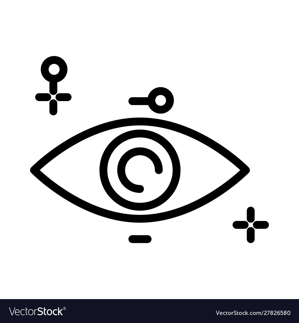 Eye isolated outline icon human vision organ