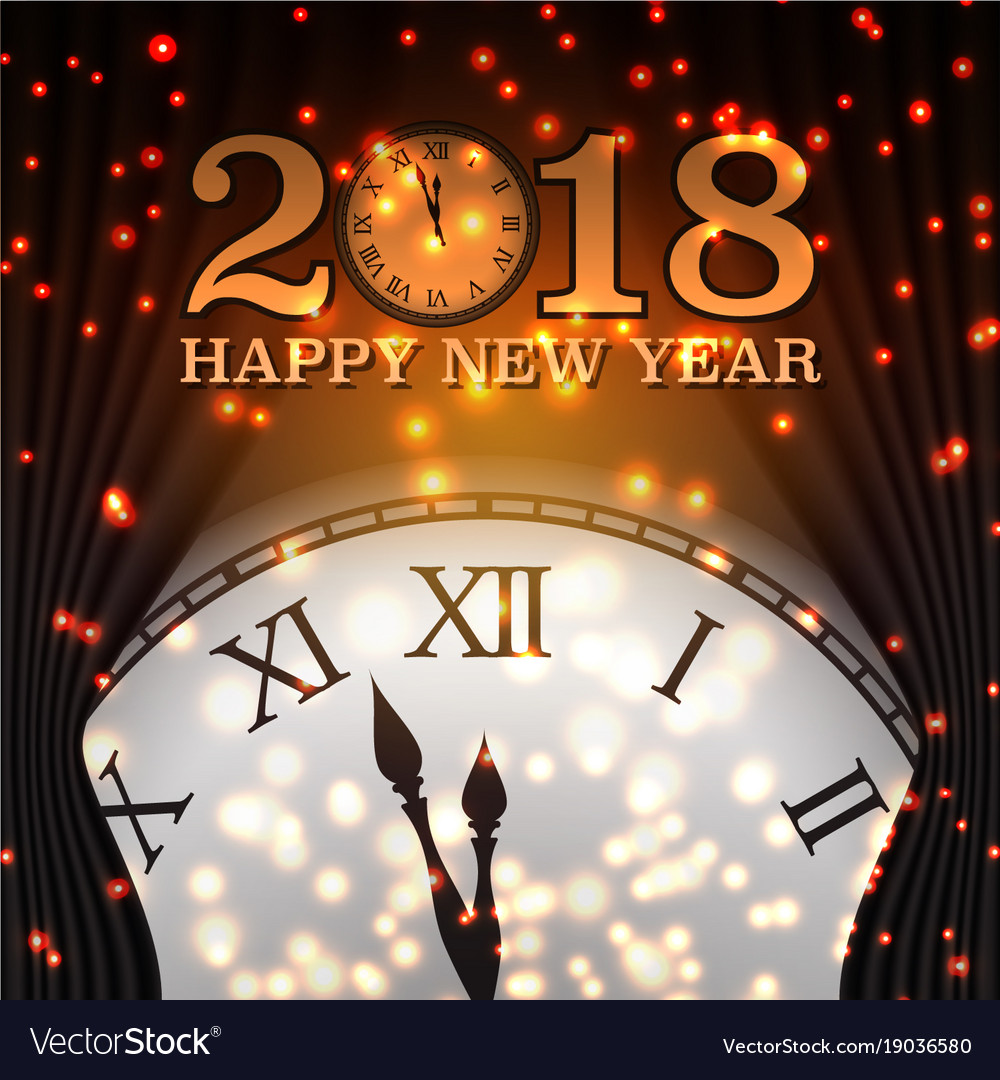 happy new year 2018 background with clock vector image