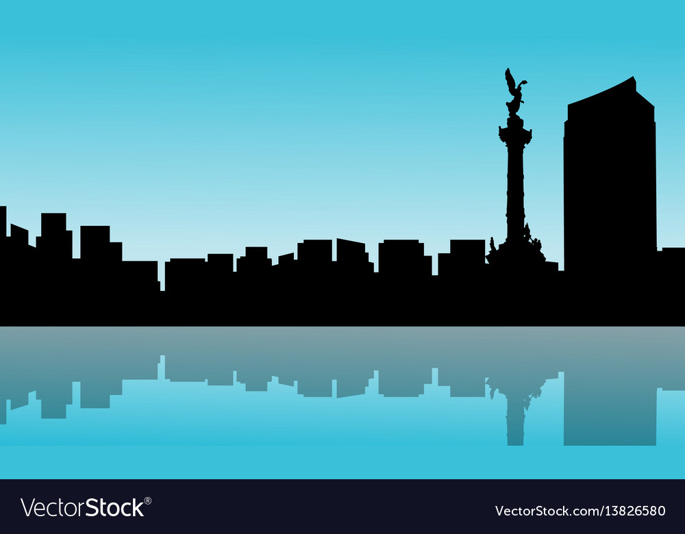 Mexico city with reflection scenery silhouettes