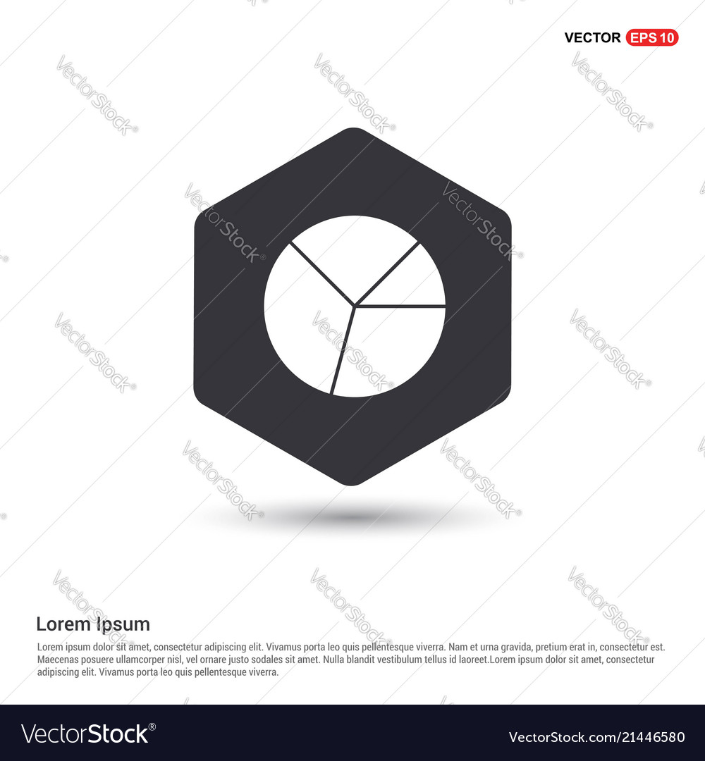 pie graph icon hexa white background icon template