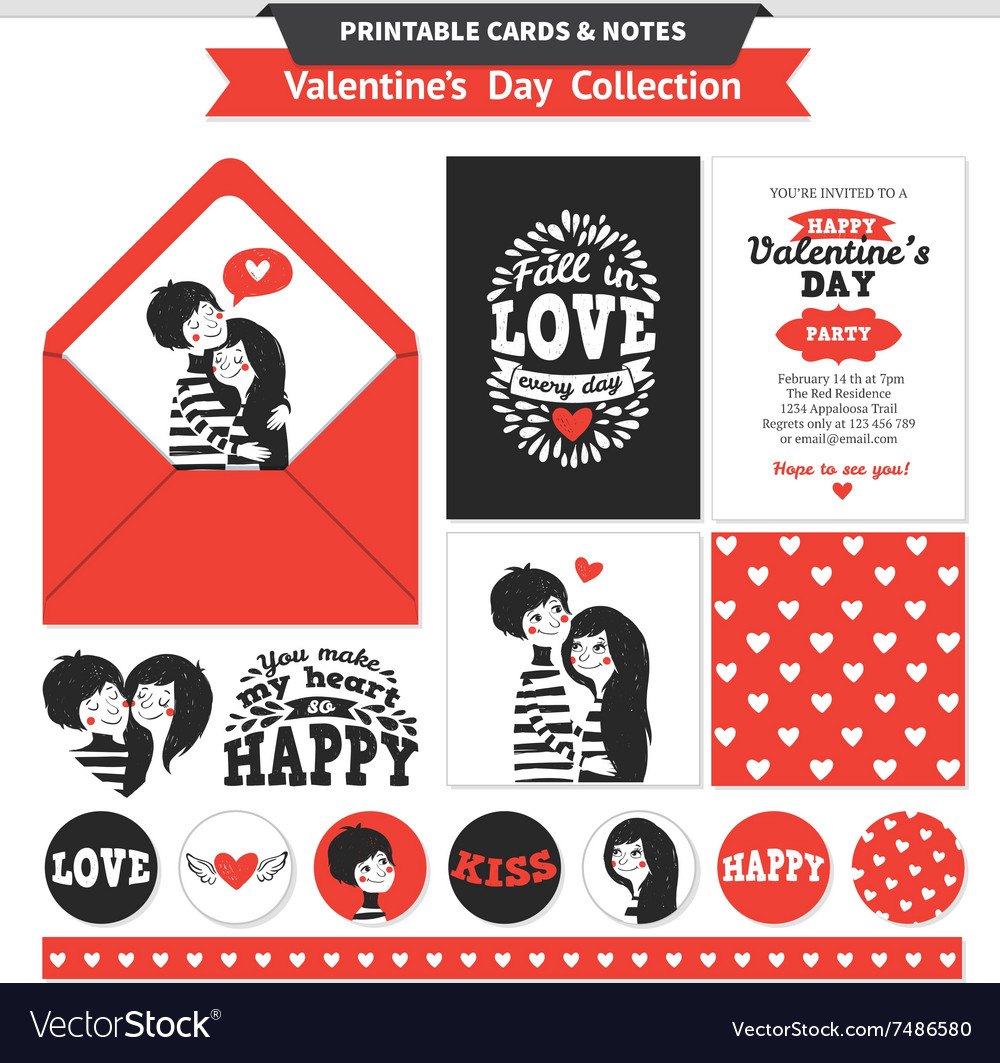Printable set with couple in love and lettering