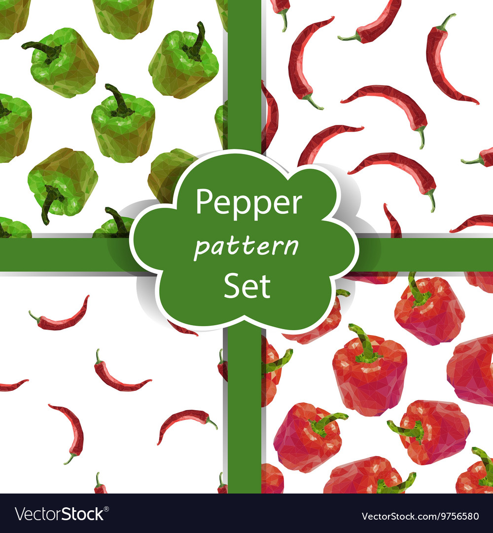 Seamless pattern set with peppers