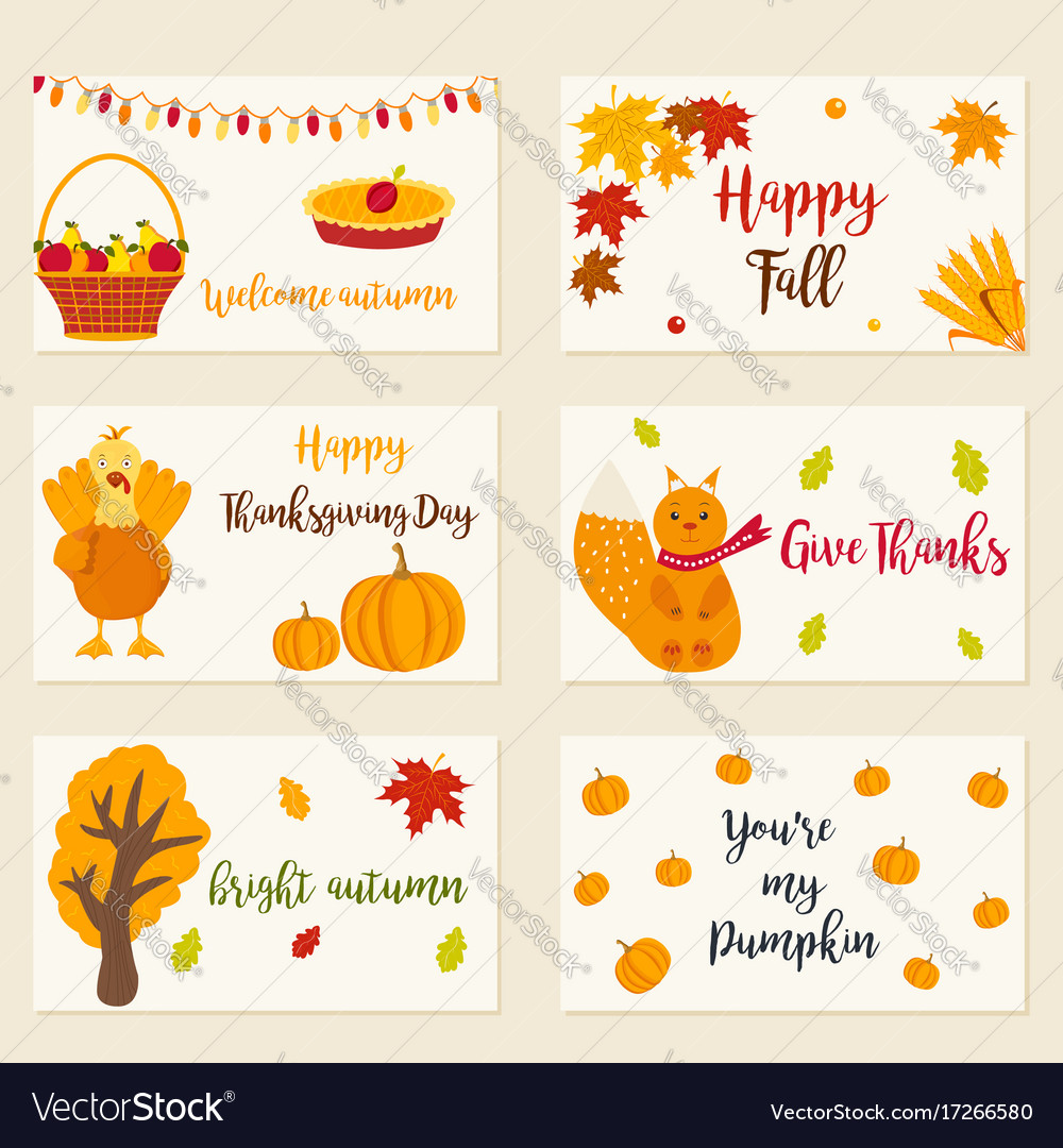 Set of autumn cards with different characters