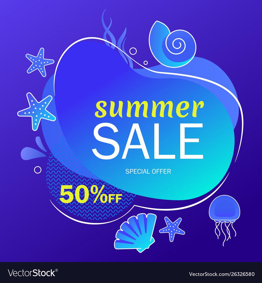 Summer super sale underwater poster flyer layout