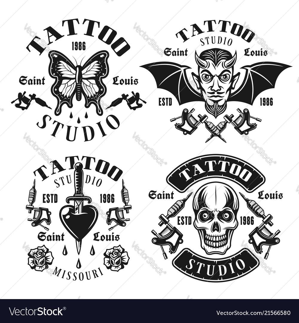 Tattoo studio emblems or t shirt prints