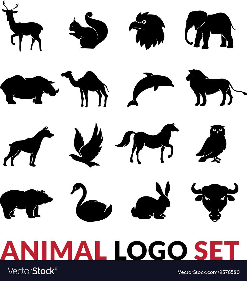 Wild Animals Black Logo Icons Set vector image