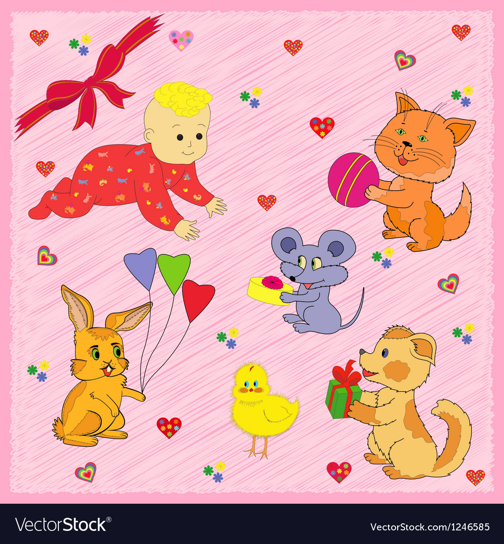 Animals Greeting A Baby vector image