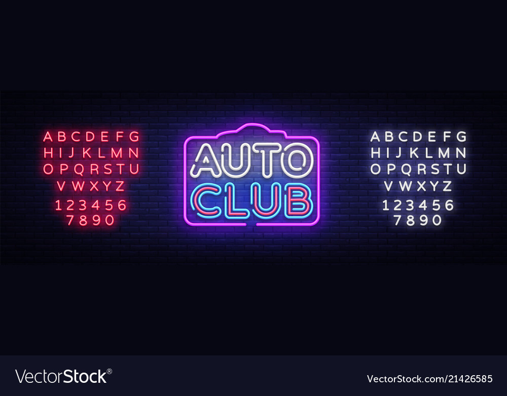 Auto club neon sign car service design