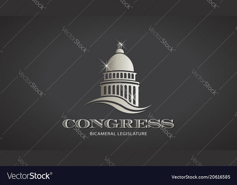 Congress silver capitol icon deisgn