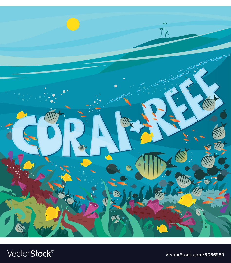 Coral reef with fish and seaweed vector image