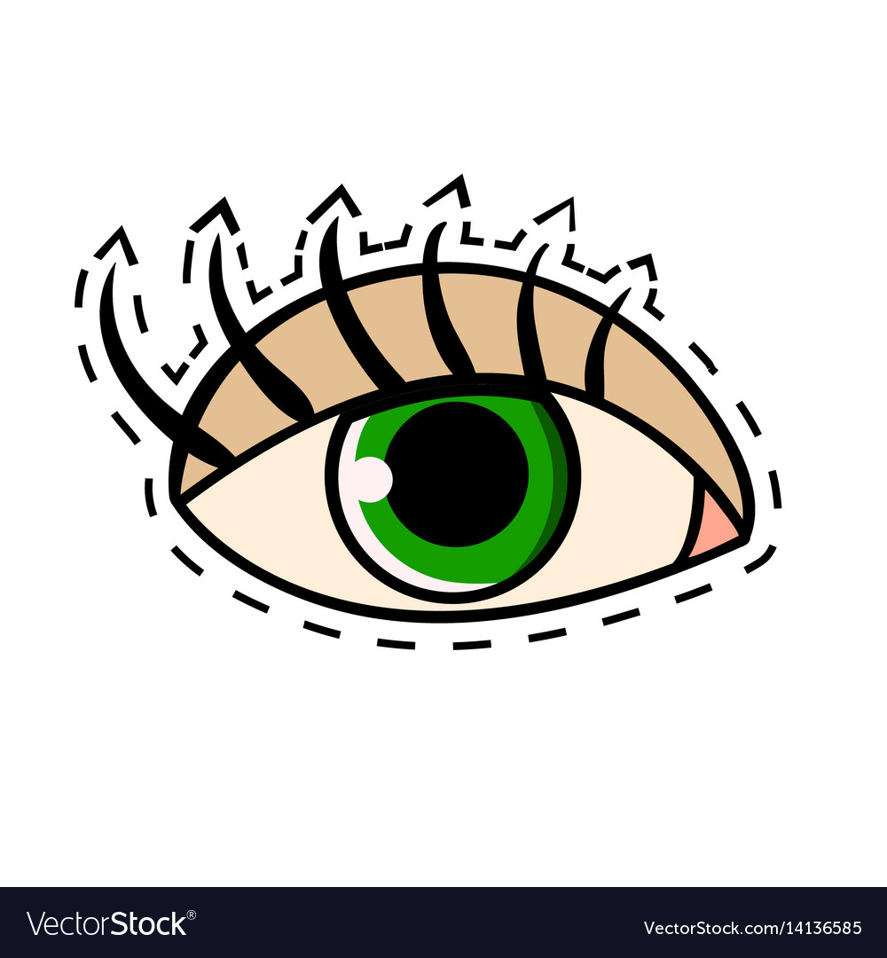 Female green eye with long eyelashes comic