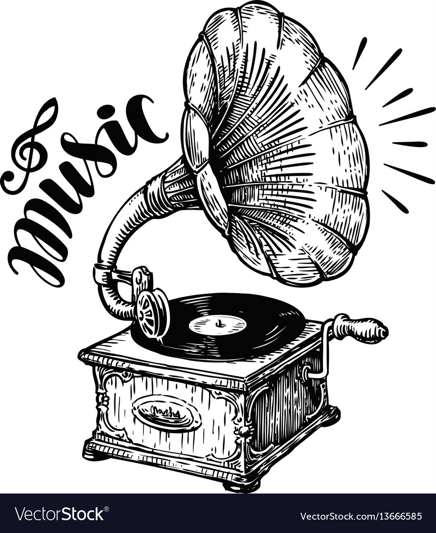 Hand drawn gramophone sketch music nostalgia vector image