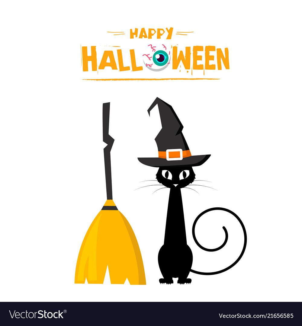 Happy halloween cat witch broom background
