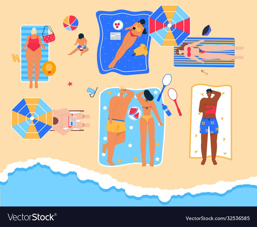 Men and women relax at seaside resort in top view