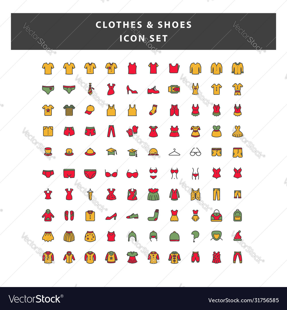 Set clothes and shoes icon with filled outline
