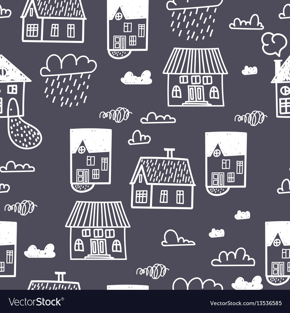 Spring town seamless pattern with hand draw