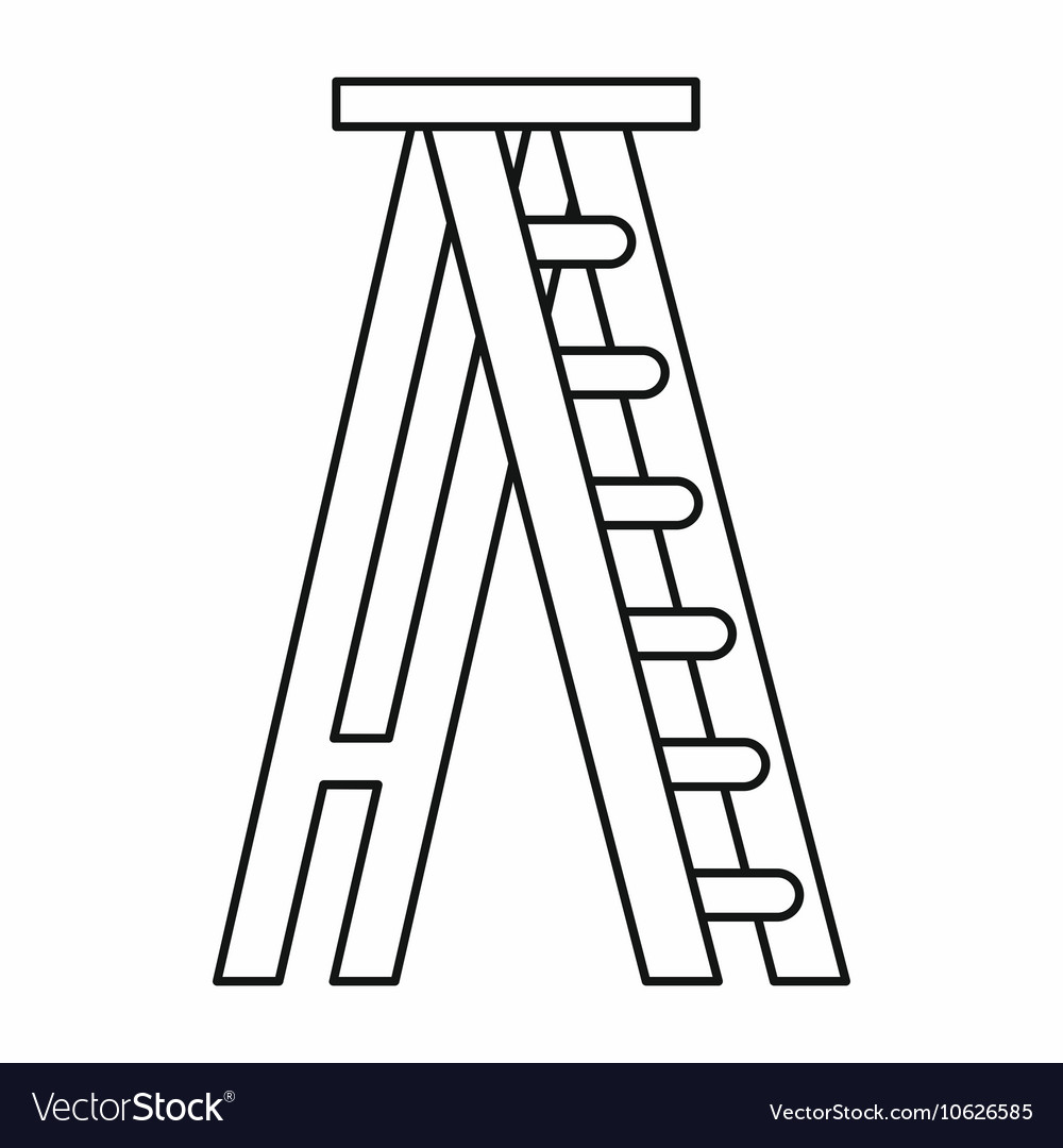 Stepladder icon in outline style