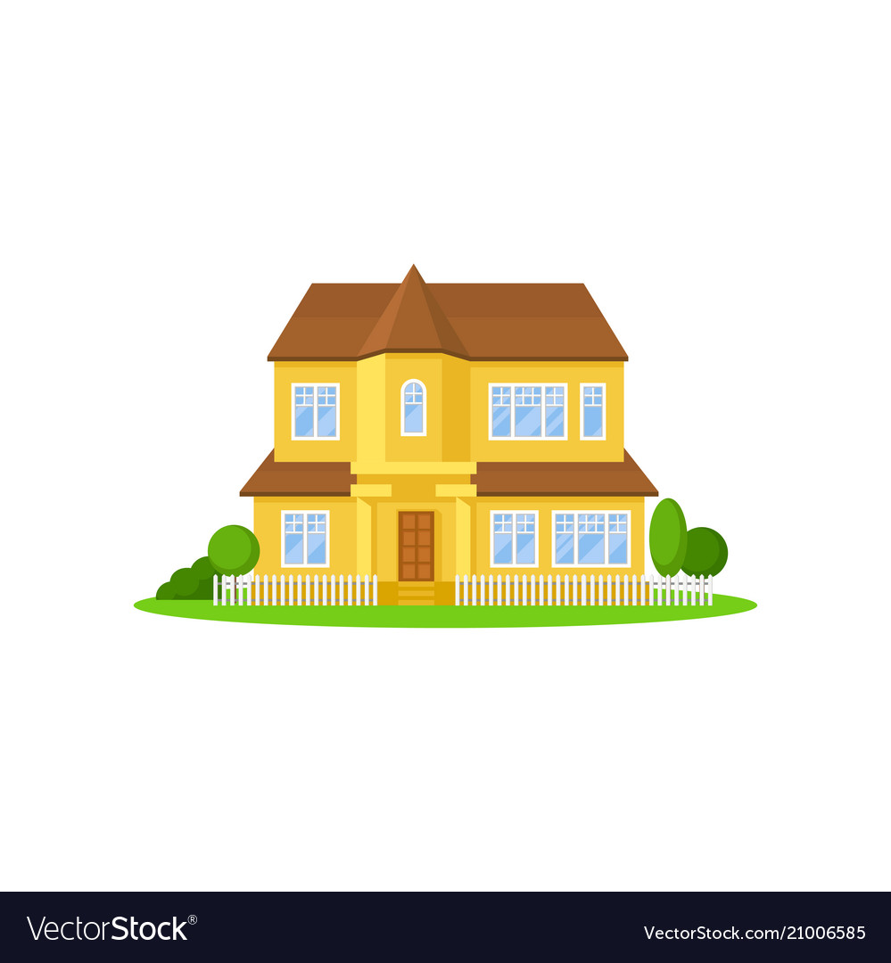 Two-storey yellow house with wooden roof little