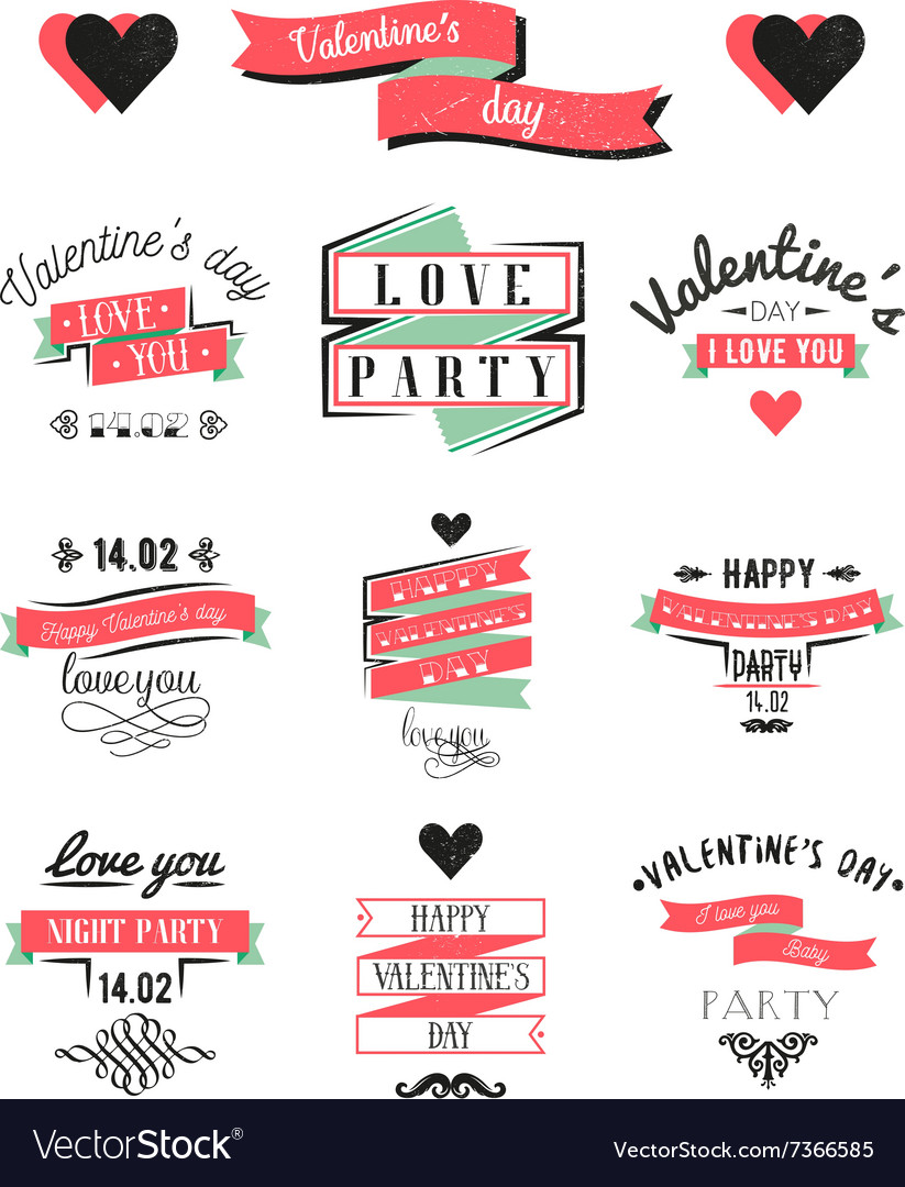 Valentines day lettering cards Labels and logo