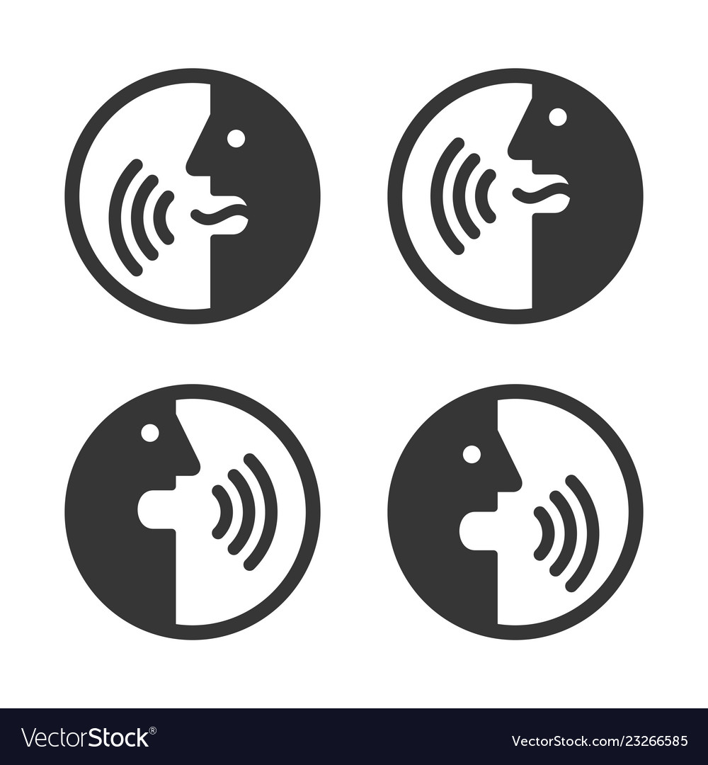 Voice command icons set face with sound waves
