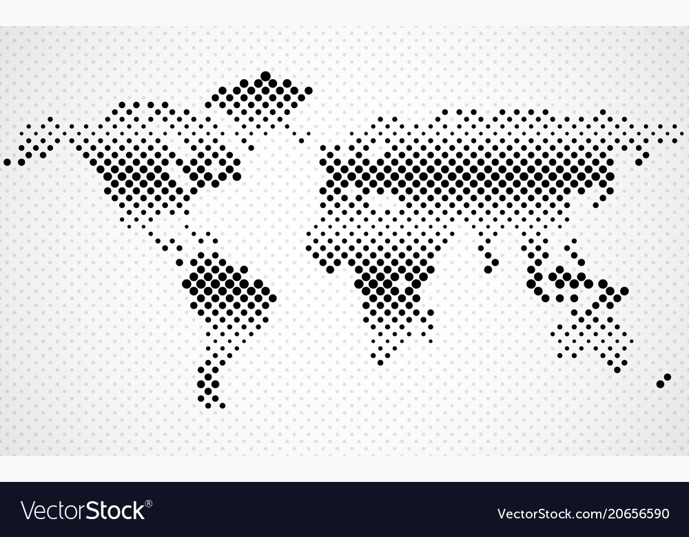 Abstract halftone world map dotted map vector image