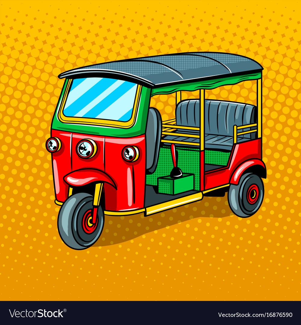 Auto rickshaw transport pop art style vector image