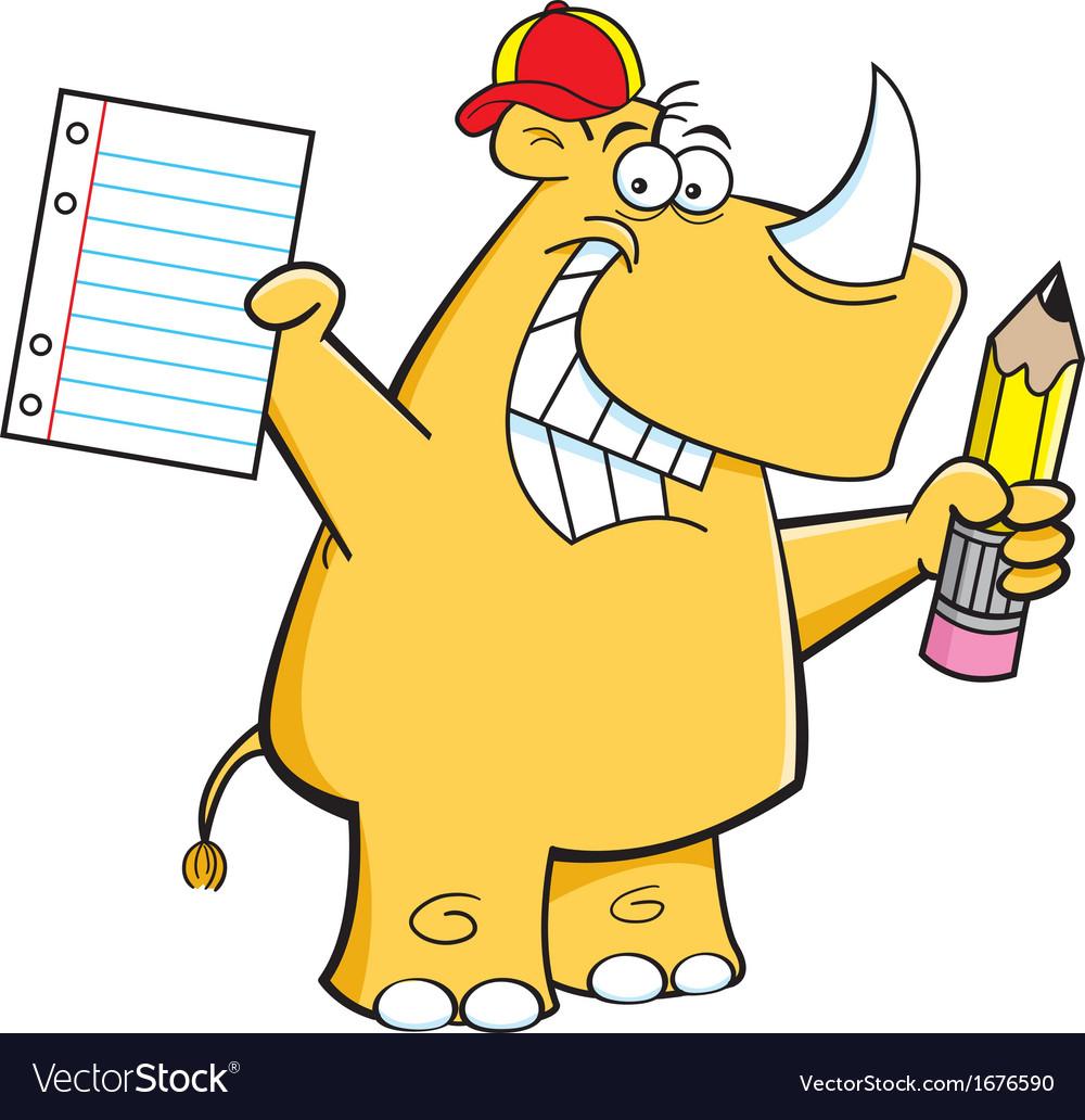 Cartoon Rhino Student vector image