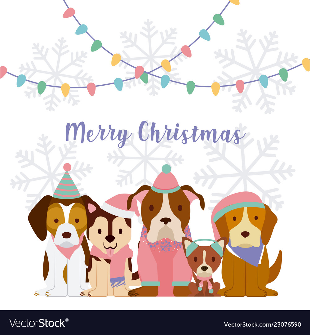 Dog Merry Christmas Card Royalty Free Vector Image
