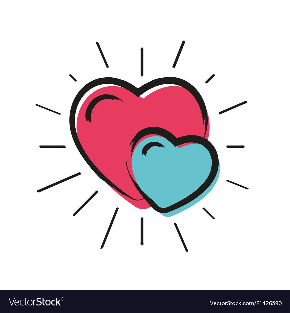 Doodle love hearts pattern with sunburst