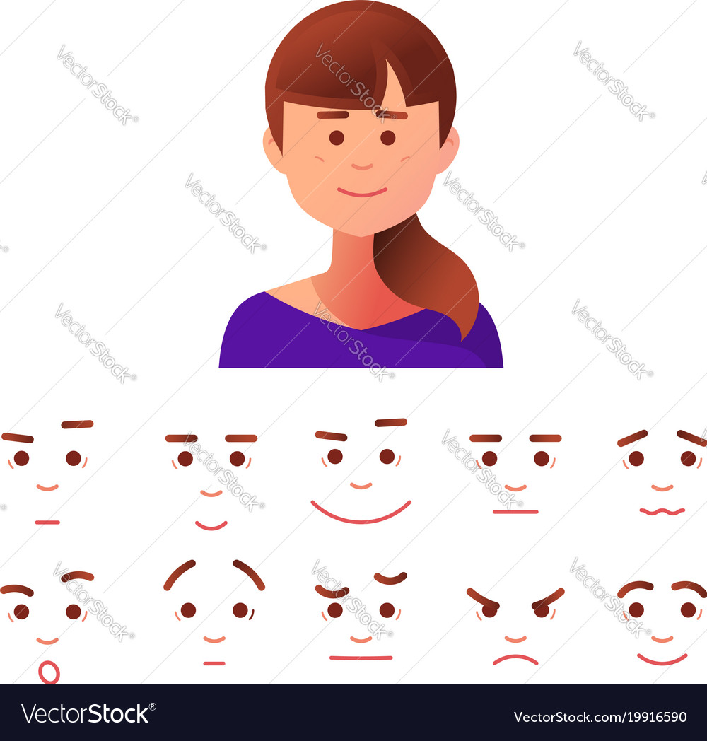 Face icon in flat style