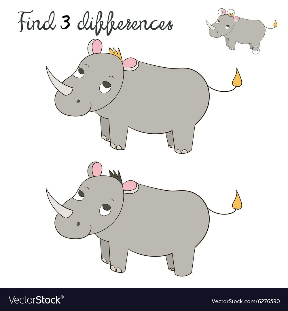 Find differences kids layout for game rhino