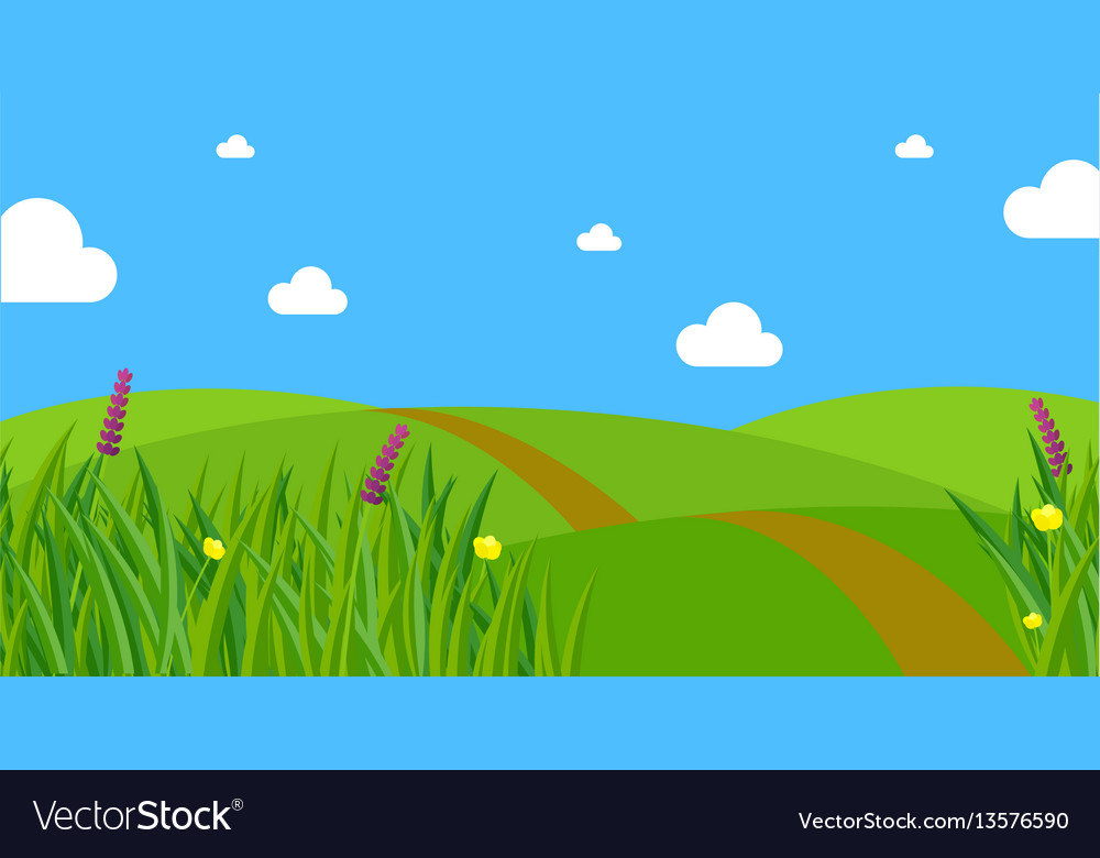 Fresh green spring grass background vector image